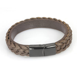 MBSS23 LEATHER BRACELET WITH STAINLESS STEEL CLOSURE