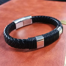 Load image into Gallery viewer, MBSS24 LEATHER BRACELET WITH STAINLESS STEEL CLOSURE