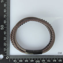 Load image into Gallery viewer, MBSS26 STAINLESS STEEL BRACELET WITH LEATHER AND ONYX