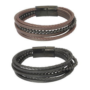 MBSS26 STAINLESS STEEL BRACELET WITH LEATHER AND ONYX
