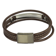 Load image into Gallery viewer, MBSS28 LEATHER BRACELET WITH STAINLESS STEEL CLOSURE