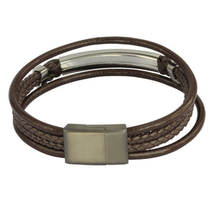 MBSS28 LEATHER BRACELET WITH STAINLESS STEEL CLOSURE