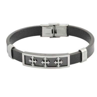 MBSS42 STAINLESS STEEL LEATHER BRACELET