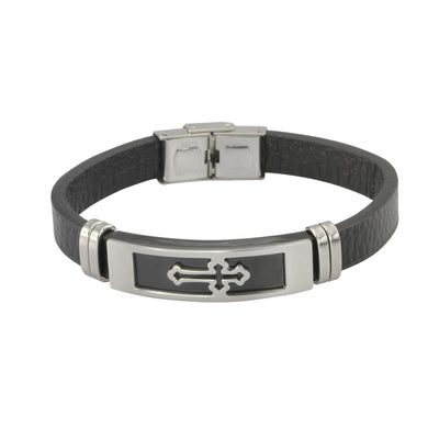 MBSS747 STAINLESS STEEL LEATHER BRACELET