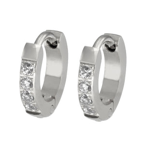 MESS26 STAINLESS STEEL EARRING WITH CZ