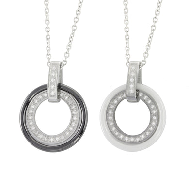MNSS05 STAINLESS STEEL NECKLACE WITH CERAMIC&CZ