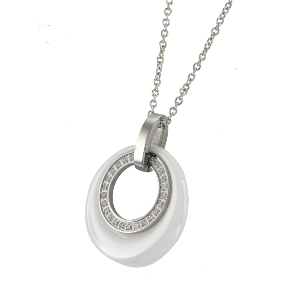 MNSS06 STAINLESS STEEL NECKLACE WITH CERAMIC&CZ