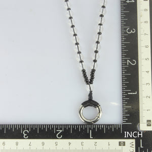 MNSS14 BEAD NECKLACE WITH STAINLESS STEEL RING