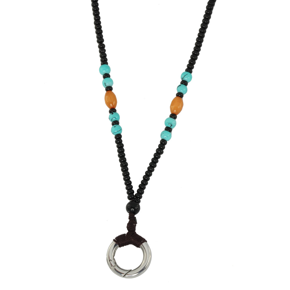 MNSS18 BEAD NECKLACE WITH STAINLESS STEEL RING
