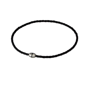 NSS361 STAINLESS STEEL LEATHER NECKLACE