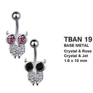 TBAN19 BELLY WITH SKUN DESIGN 1.6 * 10 COLOR CRYSTAL/ROSE  CRYSTAL/BLACK