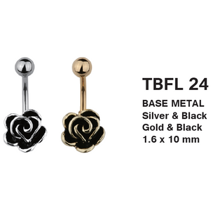 TBFL24 BANANA WITH FLOWER DESIGN 1.6 * 10 COLOR GOLD/BLACK  SILVER/BLACK