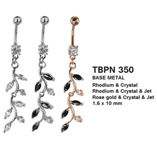 Load image into Gallery viewer, TBPN350 BANANA WITH FLOWER DESIGN 1.6 * 10 COLOR RHODIUM/CRYSTAL  RHODIUM/CRYSTAL/JET