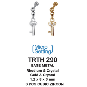 TRTH290 HELIX WITH KEY DESIGN 1.2 * 8 * 3 COLOR GOLD/CRYSTAL RHODIUM/CRYSTAL