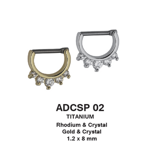 ADCSP02 septums 1.2*8 COLOR Rhodium/CRYSTAL Gold/CRYSTAL