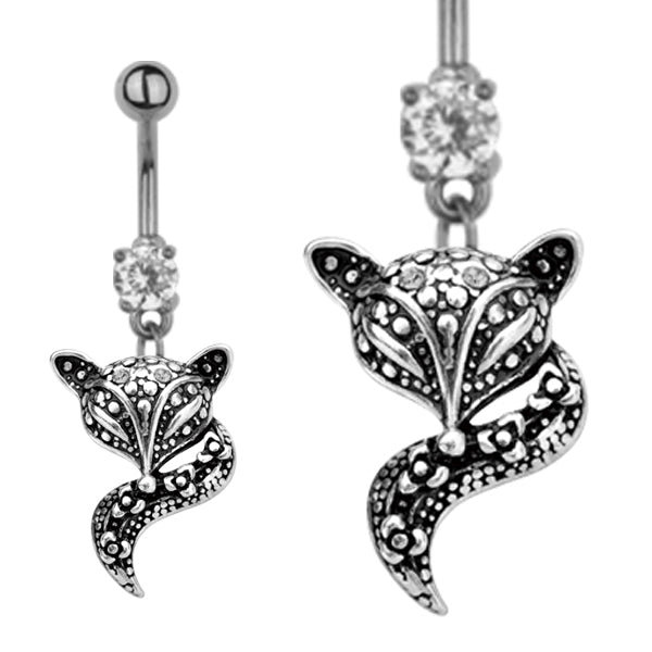 TBAN31 BANANA WITH FOX DESIGN 1.6 * 10 COLOR ANTIQUE SILVER/CRYSTAL