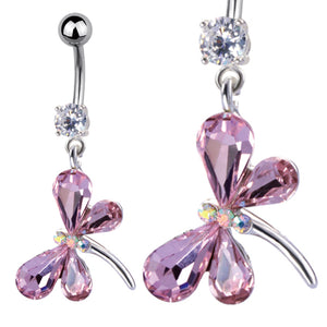 TBBU72 BANANA WITH BUTTERFLY DESIGN 1.6 * 10 COLOR L.ROSE/CRYSTAL/CRYSTAL AB
