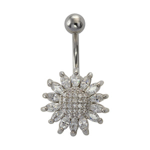 TBFL75 BANANA WITH FLOWER DESIGN 1.6 * 10 * 5 COLOR RHODIUM/CRYSTAL
