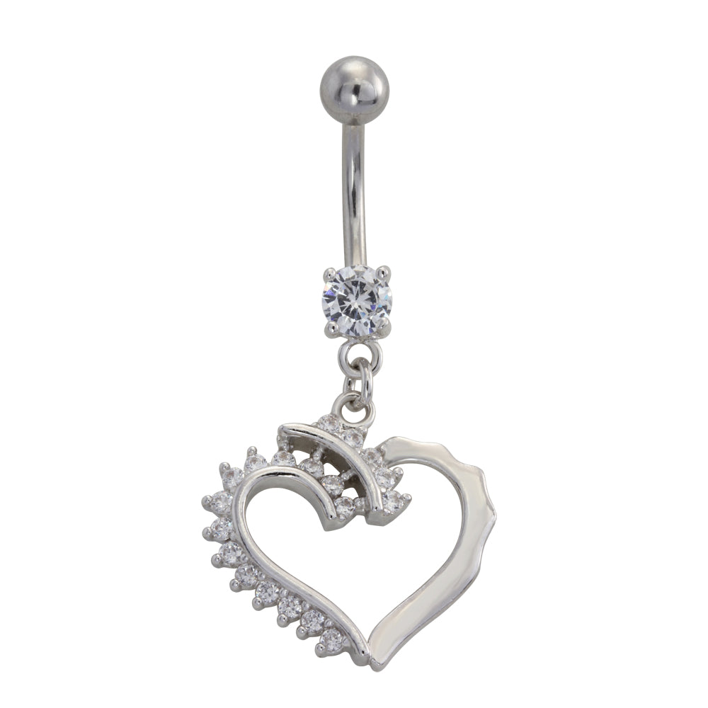 TBSH179 BANANA WITH HEART DESIGN 1.6*10*5 COLOR RHODIUM/CRYSTAL