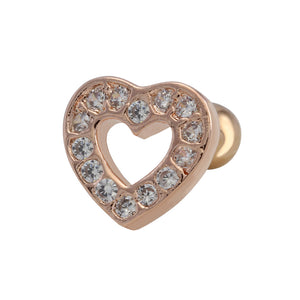 TRTH129 HELIX WITH HEART DESIGN 1.2 * 6 * 3 COLOR ROSE GOLD/CRYSTAL