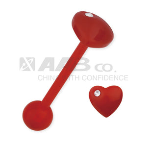 URHJ01 UV BARBELL WITH HEART DESIGN