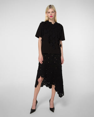 Laser-cut skirt with detachable detail
