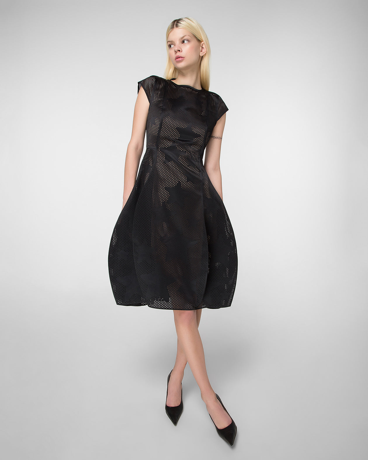 Fit & flare laser-cut dress