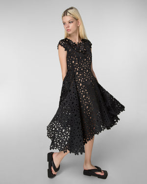 Cap sleeve laser-cut fit & flare dress
