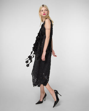 Laser-cut floral dress with asymmetrical hem