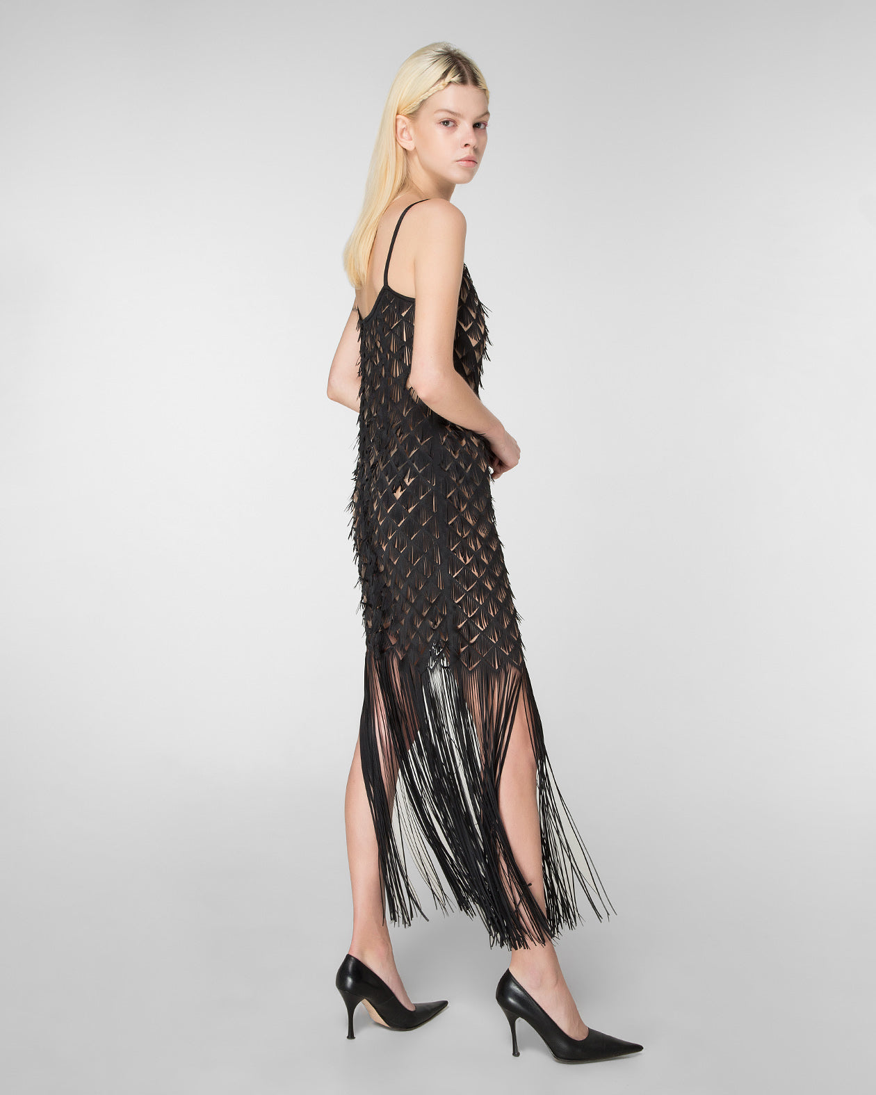 Shoulder strap laser-cut dress with fringe hem