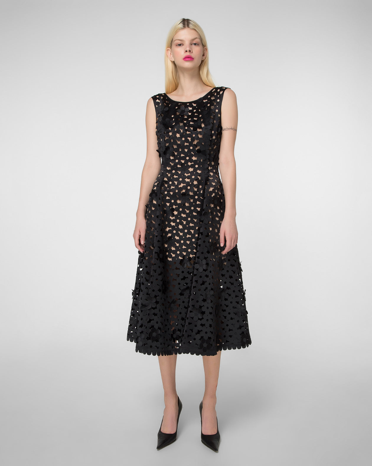 Fit & flare laser-cut dress with floral appliques
