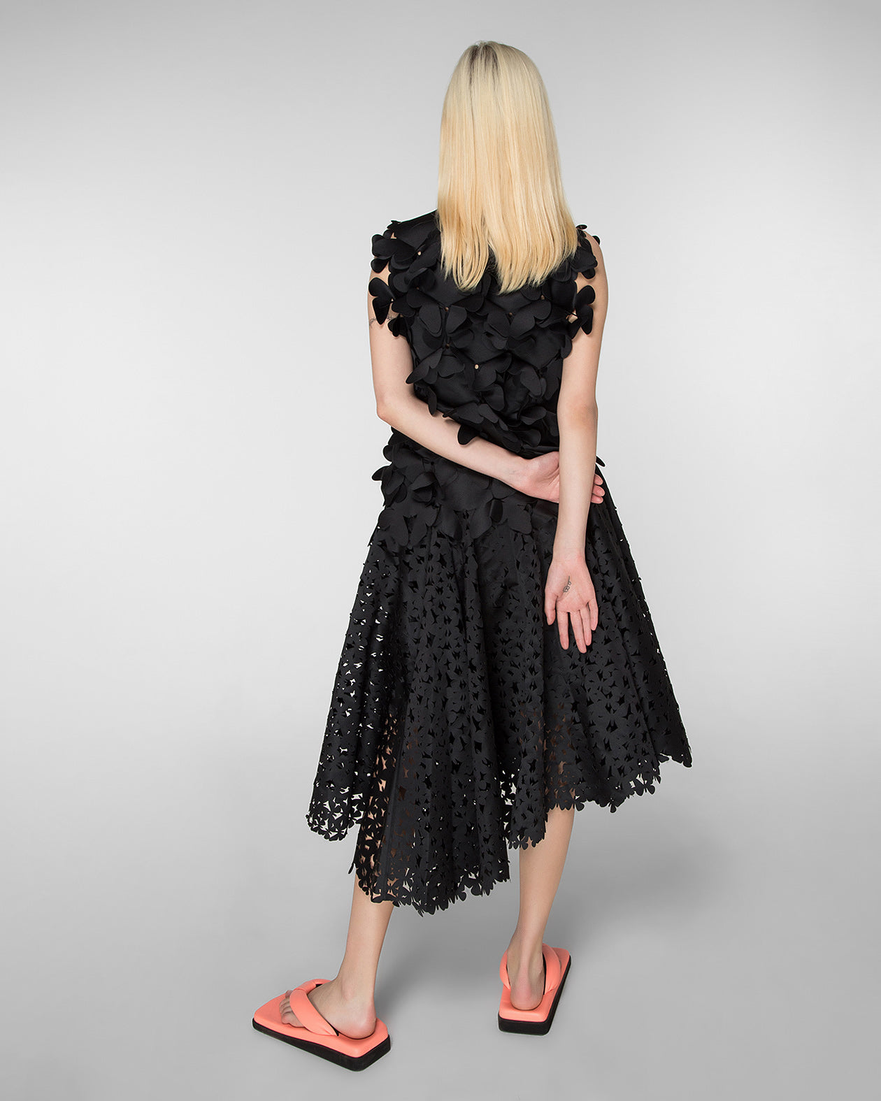 Mid-length laser-cut skirt
