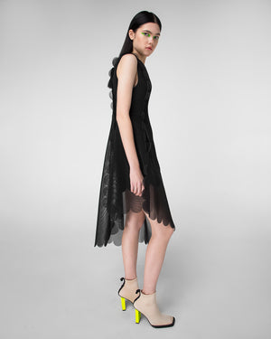 Sleeveless dress with cascade scalloped hem