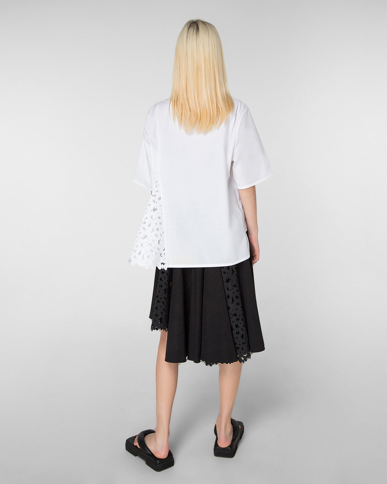 Flared skirt with laser-cut panels