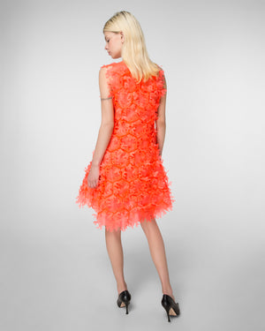 "Laser-cut ""coral"" mini-dress"