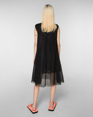 Double layered sleeveless laser-cut dress