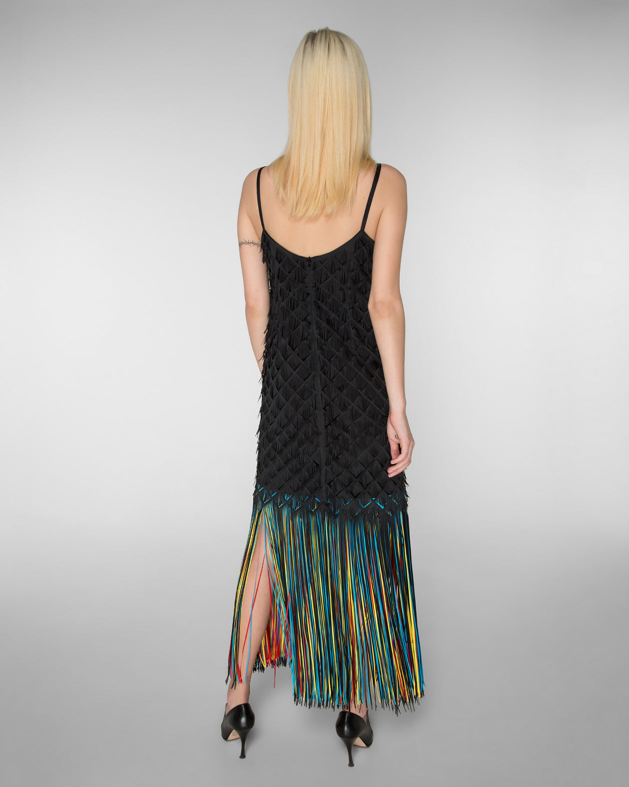 Shoulder strap maxi dress with multicolored fringe hem