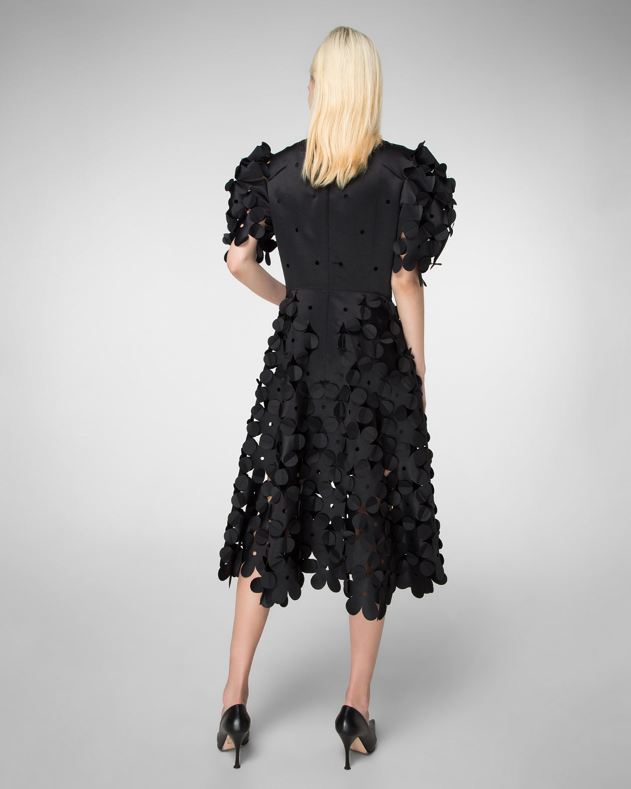 Laser-cut puff sleeve dress