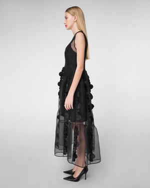 Semitransparent appliqued dress