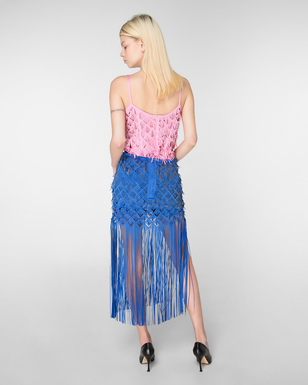 Laser-cut midi skirt with fringe hem