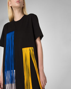 T-dress decorated with fringe