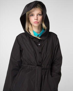 Hooded parka decorated with 3D appliques