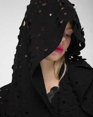 Hooded laser-cut jacket