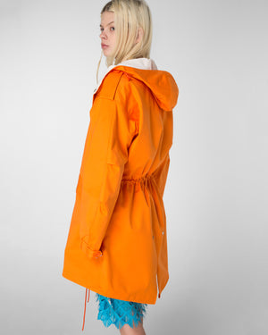 Hooded parka with detachable contrasting lining