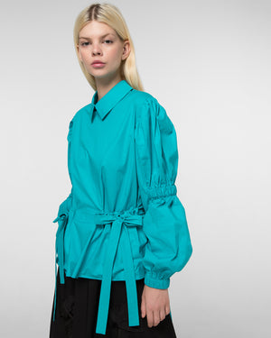 Shirt with elasticated sleeves and patch pockets