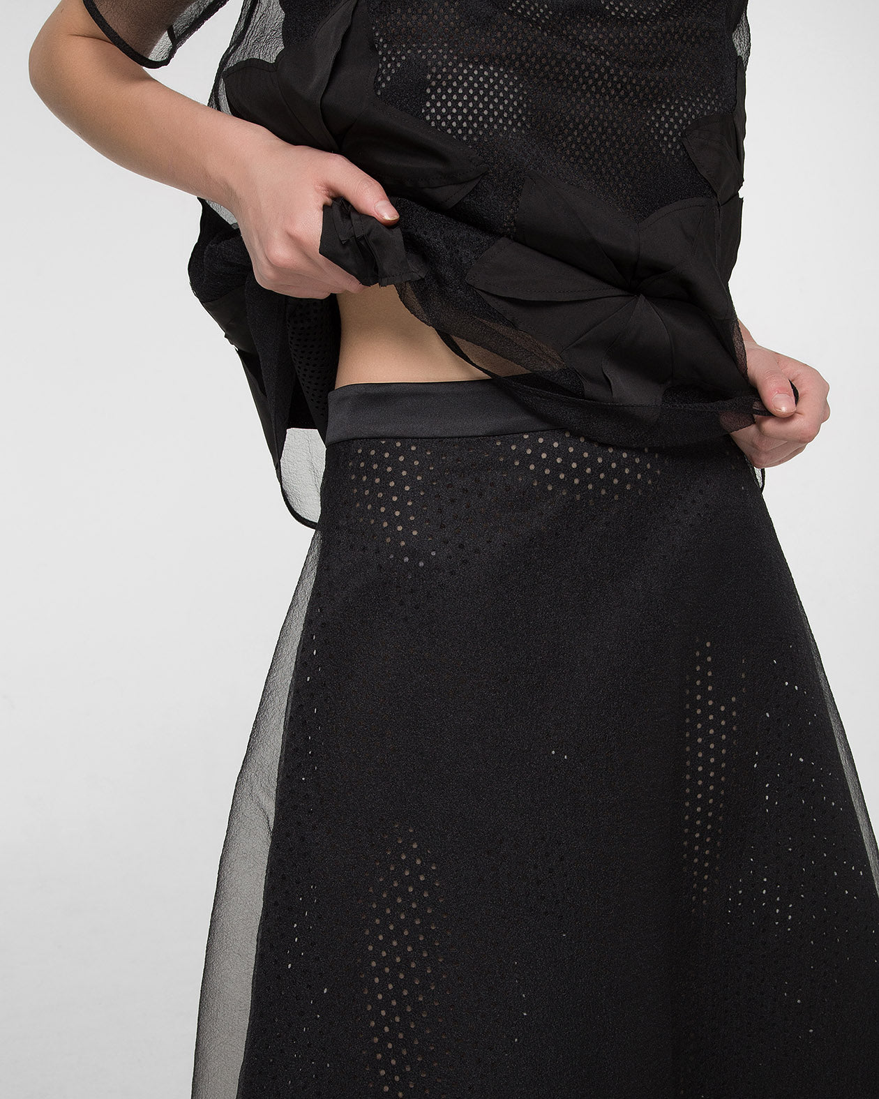 A-line double layered laser-cut skirt