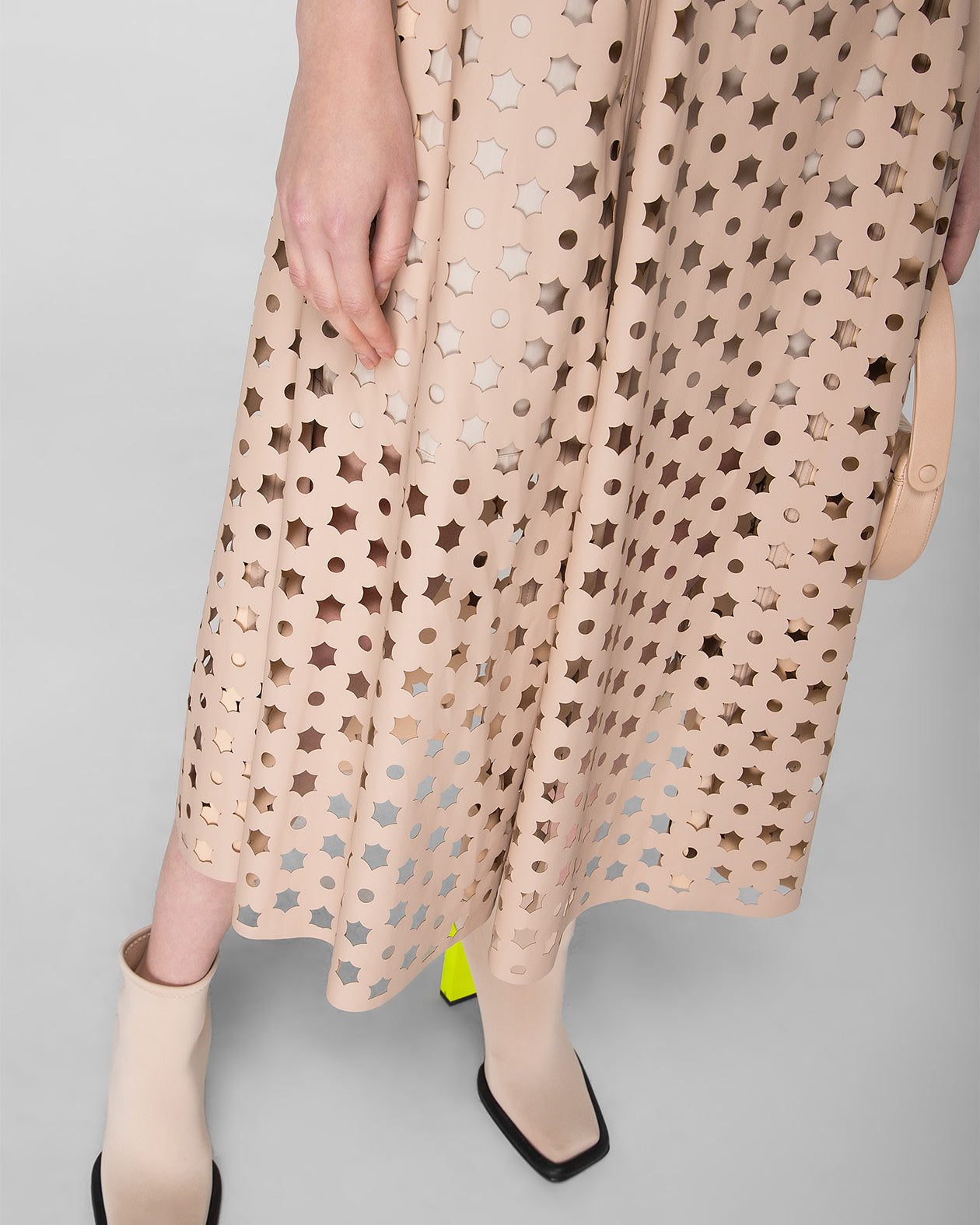 Laser-cut fit & flare maxi dress