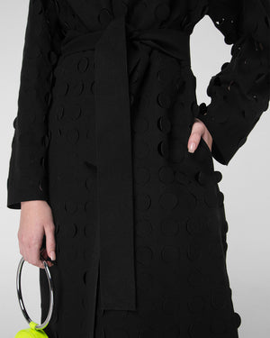 Laser-cut lapel coat