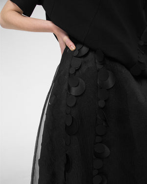 A-line skirt with tonal appliques