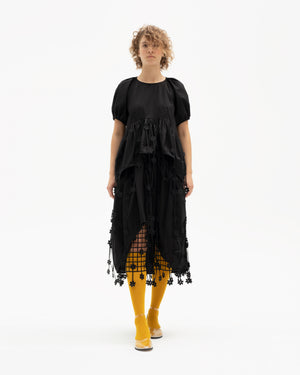 Midi-skirt decorated with laser-cut floral straps